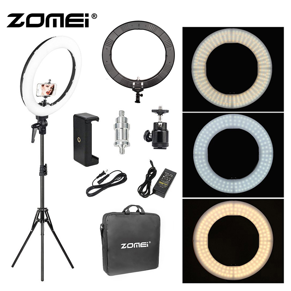 Zomei 18 inch LED Ring Light 55W 5500K Lighting Kit with Tripod Stand Ball Head and