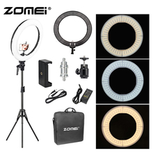 лучшая цена Zomei 18 inch LED Ring Light 55W 5500K Lighting Kit with Tripod Stand Ball Head and Phone adapter for Camera Smartphone Youtube