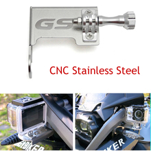 For BMW R1200GSA R1200GS ADV LC CNC Stainless Steel Motorcycle Front Left Camera Support Gopro Mount Bracket Black/Silver