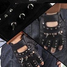 Высококачественные мужские перчатки из натуральной овечьей кожи, перчатки в стиле панк-рок без пальцев, варежки из серебристого сплава с заклепками, мотоциклетные скоростные перчатки для гонщиков