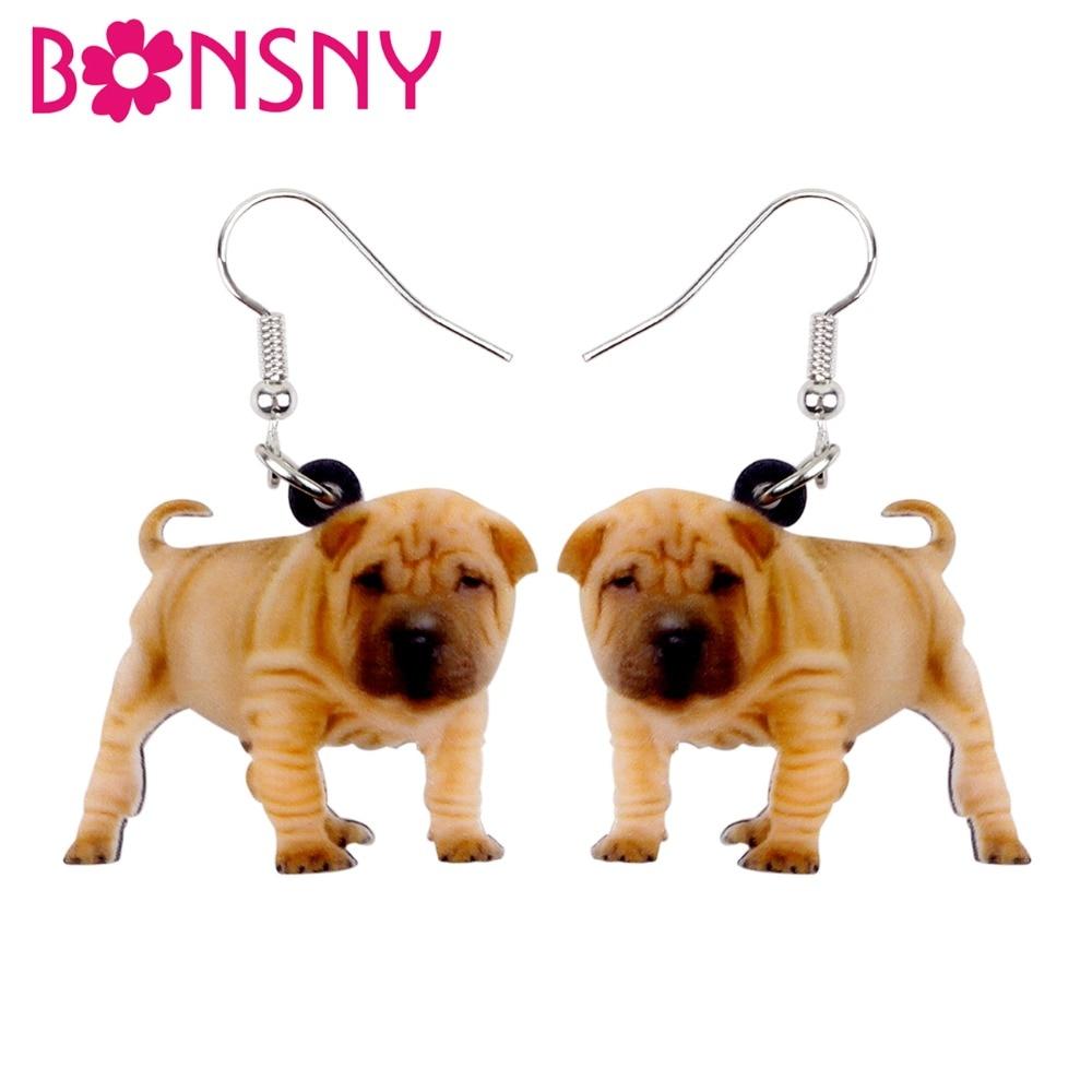 Bonsny Acrylic Bulldog Puppy Dog Earrings Big Long Dangle Drop Gift for Women Girl Ladies Teens Fashion Animal Jewelry Wholesale