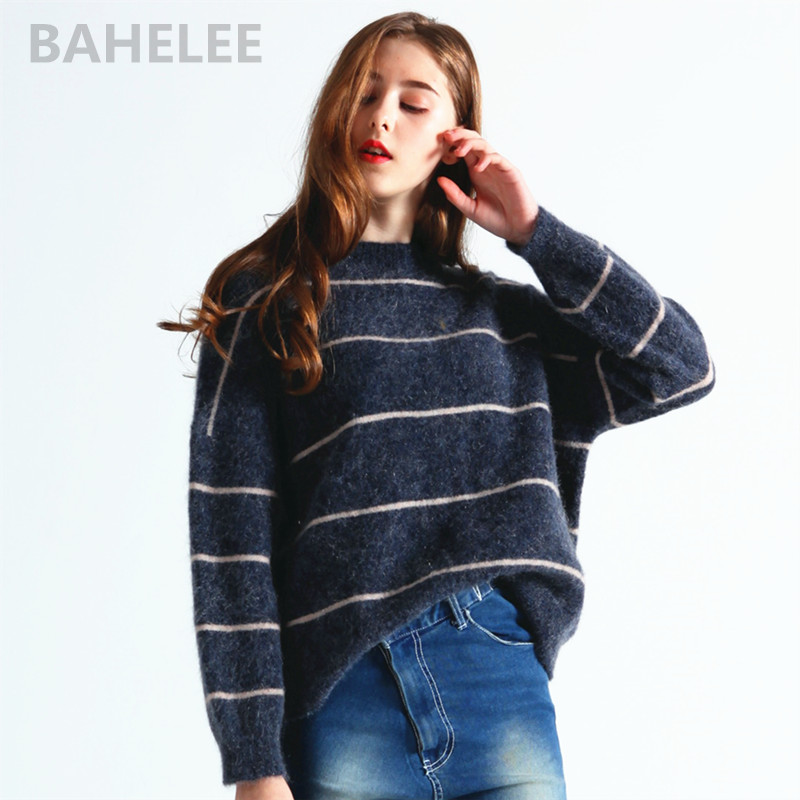 BAHTLEE spring autumnwomen s South Africa mohair wool knitted pullovers sweater O neck striped pattern looser