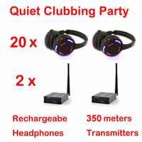 Silent Disco complete system black led wireless headphones - Quiet Clubbing Party Bundle (20 Headphones + 2 Transmitters)