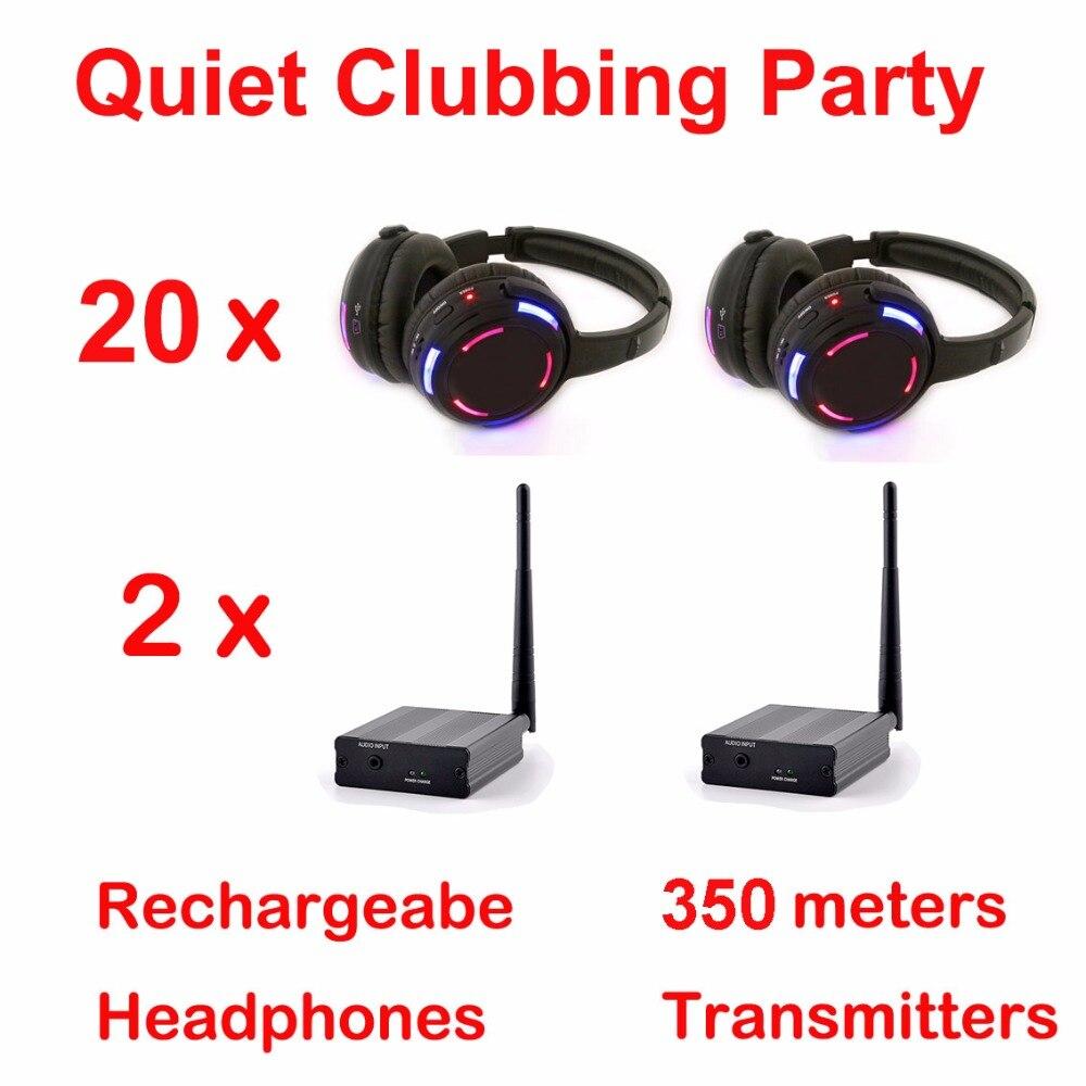 Silent Disco sistema completo preto led Partido Boates Pacote fones de ouvido sem fio-Silencioso (Fones De Ouvido + 2 20 Transmissores)