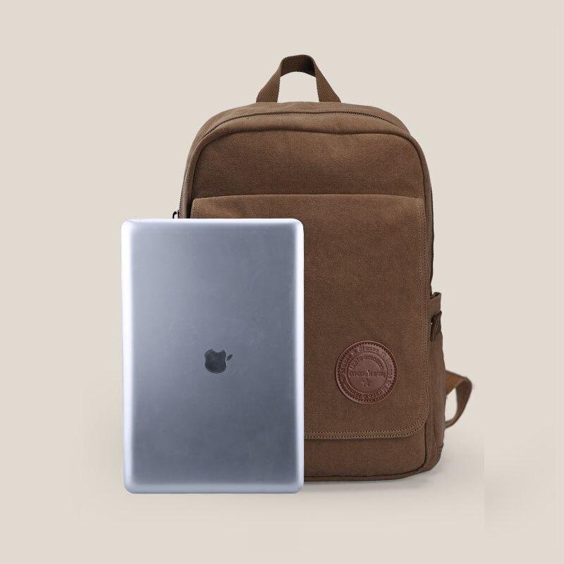 Hommes décontracté Preppy Style plaine sac d'école à la mode Simple toile sac à dos hommes mode solide couleur ordinateur portable voyage sac à dos - 5