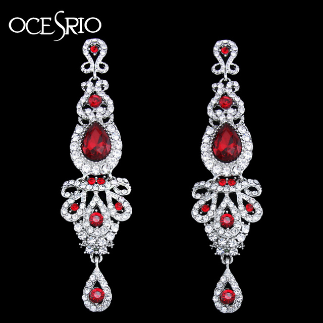 OCESRIO роскошные длинные красные серьги для свадьбы женские хрустальные большие серьги с камнями модные украшения pendientes mujer ers-h41