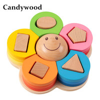 Candywood Flower Geometric Stacker Nesting Shape Sorting Board 3D Puzzle Education Learning Wooden Toys For