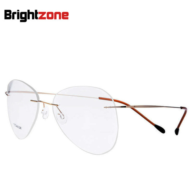 0424174fb01a5 Fashion Big Lens Shape Pilot Non-screw Connect Unisex Spectacle Frame  Elastic Titanium Alloy Myopia
