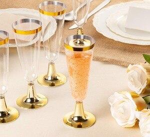 Image 5 - פלסטיק זהב מסגרת שמפניה חלילי 5.5 oz. ברור קשה חד פעמי מפלגה & חתונה זכוכית פרימיום כבד החובה מפואר Cup 25pack