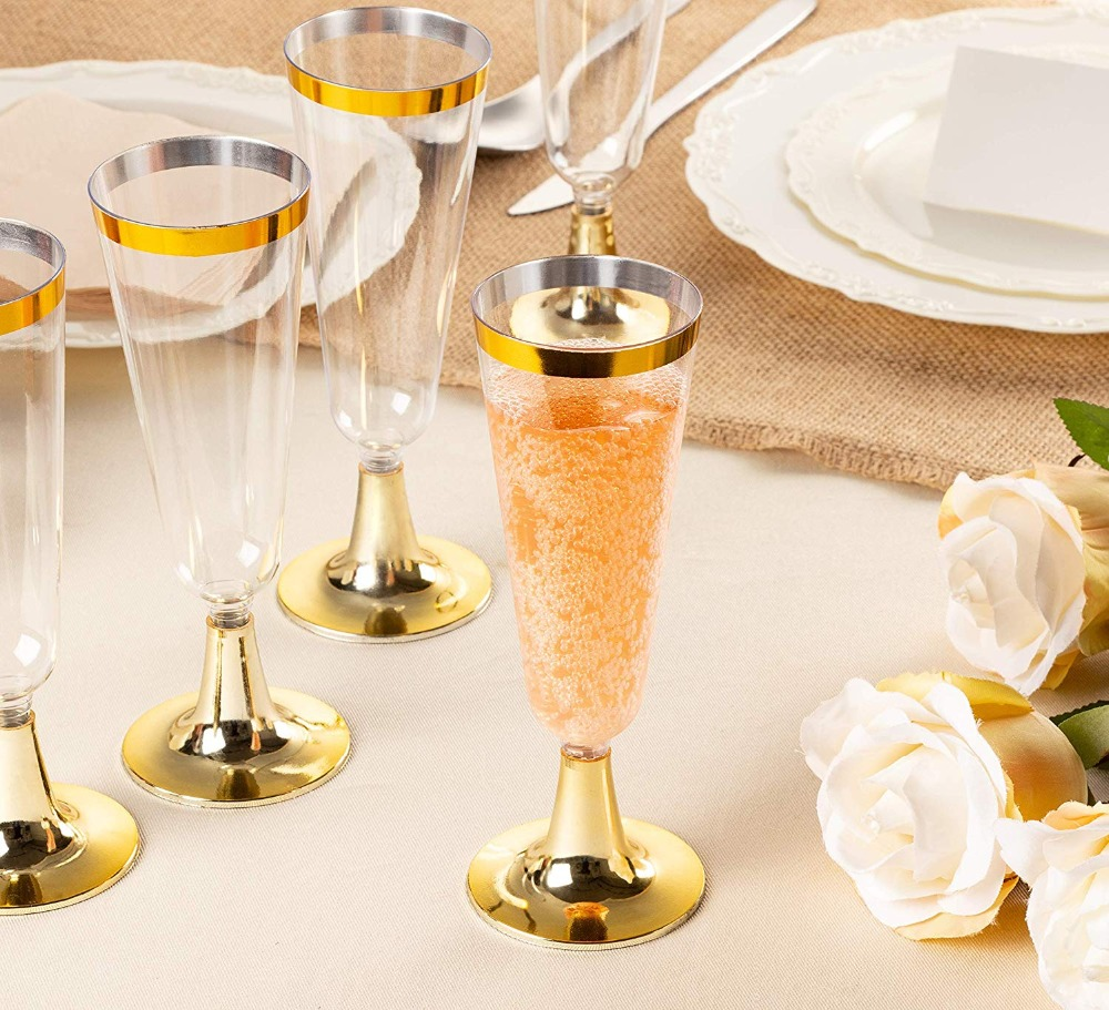 50 Plastic Gold Rimmed Champagne Flutes5.5 oz Clear Hard Disposable...