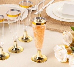 Image 5 - Plastic Gold Rimmed Champagne Flutes 5.5 oz. Clear Hard Disposable Party & Wedding Glass Premium Heavy Duty Fancy Cup 25pack