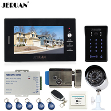 JERUAN 7 inch Video Door Phone intercom System kit waterproof touch Password keyboard Access Camera + metal 700TVL Analog Camera