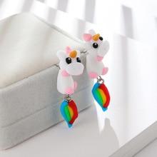 Imixlot Polymer Clay Cute Unicorn Earrings For Women Fashion Jewelry Handmade 3d Pegasus Horse Stud
