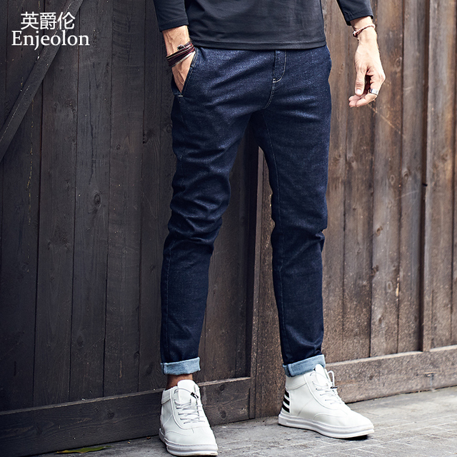 Enjeolon brand spring top quality full length jeans men fashion long trousers men Straight solid jeans males Causal Pants KZ6141