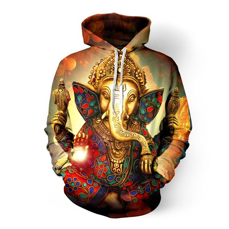 ONSEME Vintage pittura di Religione di Buddha Elefante 3D Felpe Uomini/Donne Raffreddano Arcobaleno Unicorn Del Cranio Ha Stampato Con Cappuccio Felpe Con Cappuccio Pullover