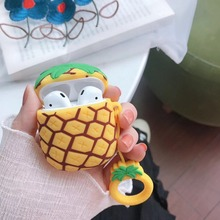 Karikatür 3D ananas kulaklık kulaklık aksesuarları için silikon koruma çantası Airpods kablosuz Bluetooth kulaklık çanta