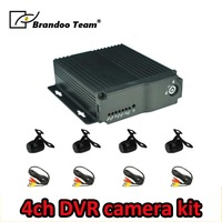 Russian/English language;BD 323HD,4Channel SD CAR DVR with 4 mini waterproof cameras kit,used for taxi,bus,driving school bus