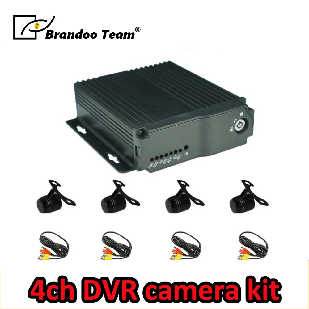 Russo/Inglês idioma; BD-323HD, 4 Canal SD DVR CARRO com 4 mini kit câmeras à prova d' água, usado para o táxi, ônibus, ônibus escolar de condução