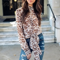 Glamaker Leopard Blusa de manga larga camisa mujeres pajarita blusa de verano blusas Boho tops gasa playa casual superior femenino