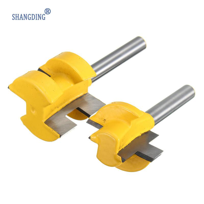 2Pcs/Set 1/4 Inch Shank Tongue Groove Router Bit +1/4 Shank Groove router bit Wood Woodworking Cutting Tools high grade carbide alloy 1 2 shank 2 1 4 dia bottom cleaning router bit woodworking milling cutter for mdf wood 55mm mayitr