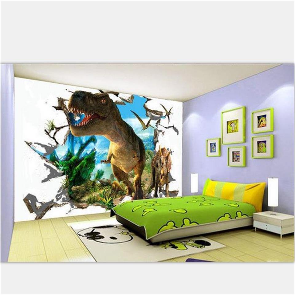 3D photo wallpaper high-end custom Kids room mural non-woven sticker 3D brick wall Jurassic dinosaur photo wallpaper for wall 3d Обои