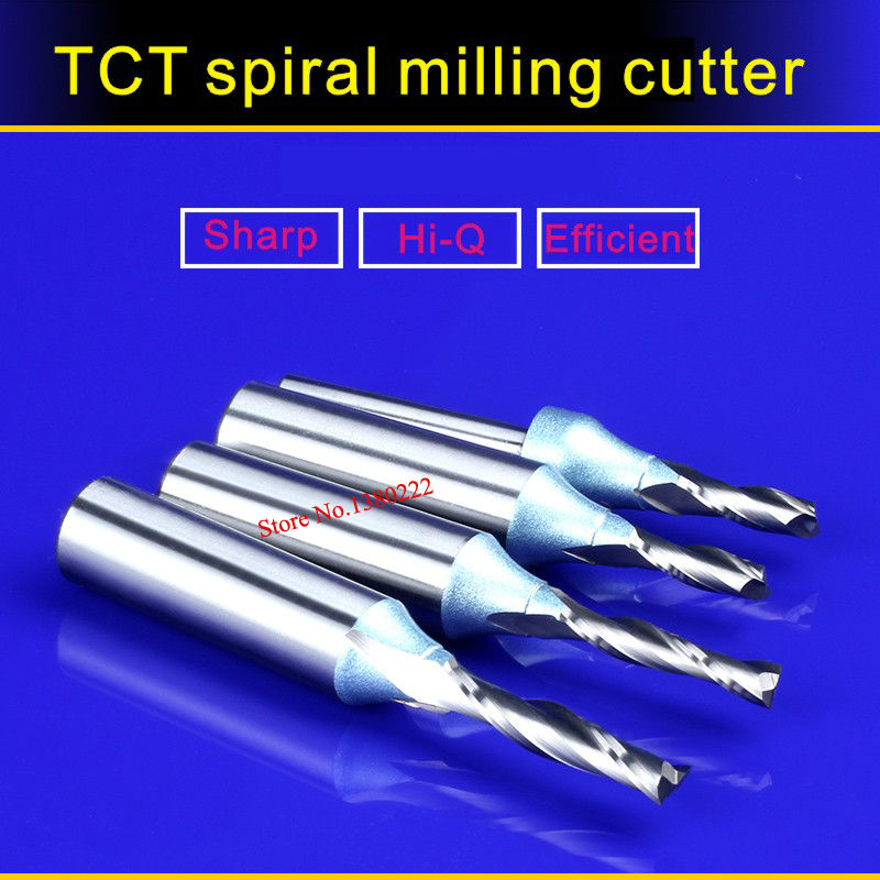 1/2*6*15MM TCT Spiral milling cutter for engraving machine Woodworking Tools millings Straight knife cutter 5912 3 175 12 0 5 40l one flute spiral taper cutter cnc engraving tools one flute spiral bit taper bits
