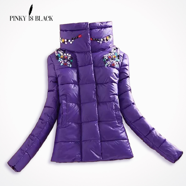 2016 winter jacket women down cotton-padded jacket parka female wadded jacket short slim diamond women winter coat outerwear