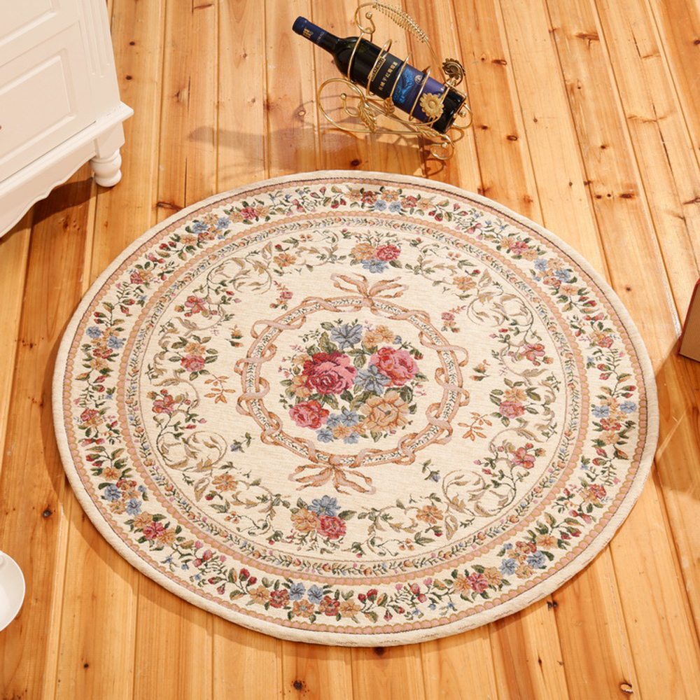 Multi Color Europe Style Flower Printing Round Doormat