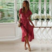 Summer Dress Women Fashion Flora Print V Neck Short Sleeve Slim Maxi Casual Ruffles Asymmetrical Party Vestidos H40