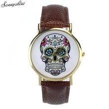 Hot Women Men Watches  Punk Skull Analog Clock Leather Band Quartz Wrist Watch wholesale