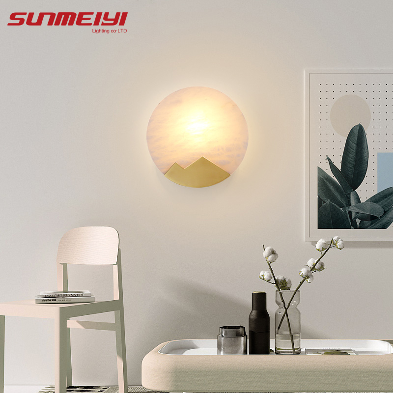 Modern LED Wall Lamps Natural Marble Copper Wall Light For Living room Bedside Corridor lampara pared Art deco Bedroom Lamp in LED Indoor Wall Lamps from Lights Lighting