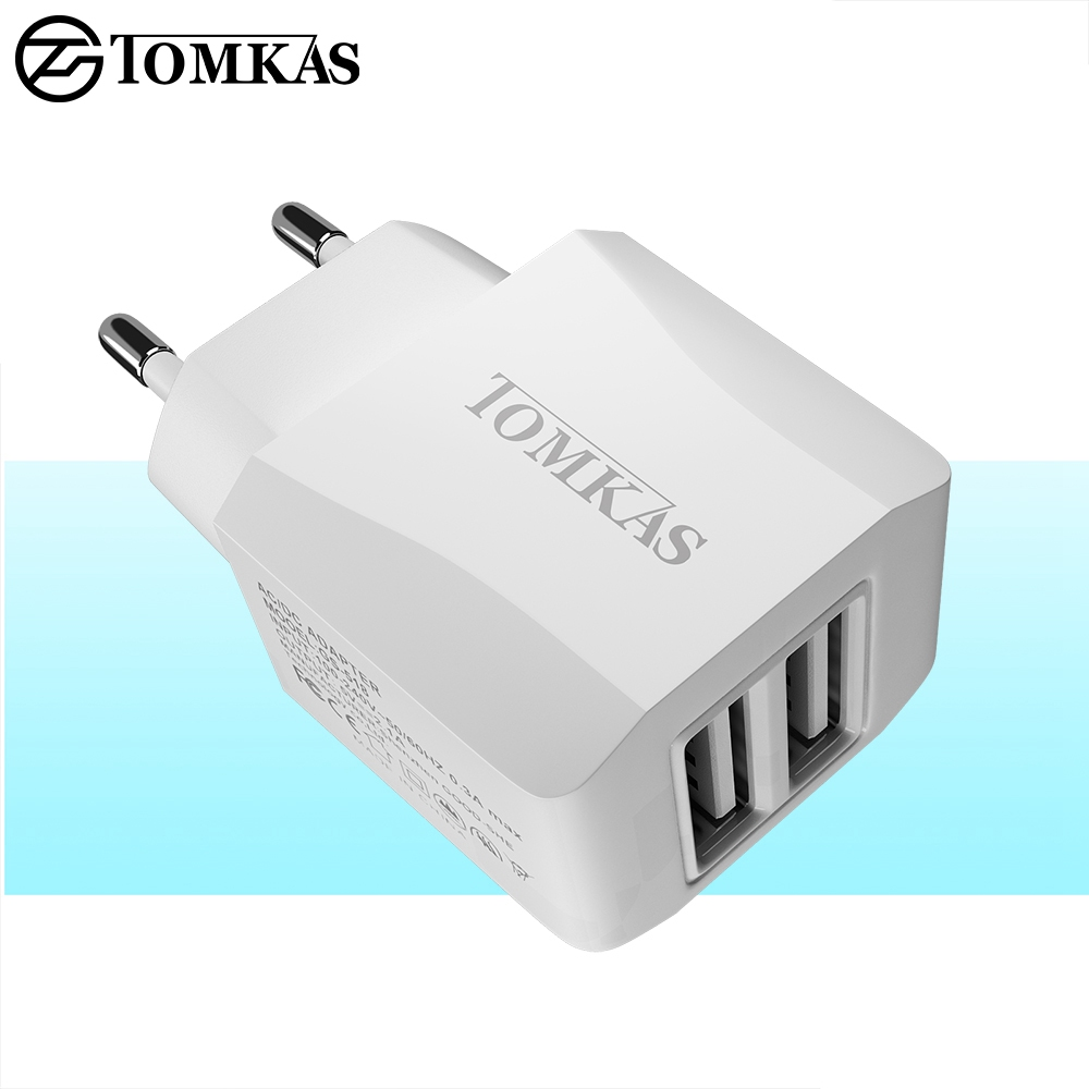 Tomkas Universal USB Charger For Phone Travel Fast Charging EU Plug Wall Charger USB Adapter For Mobile Phone Charger NEW SYLE