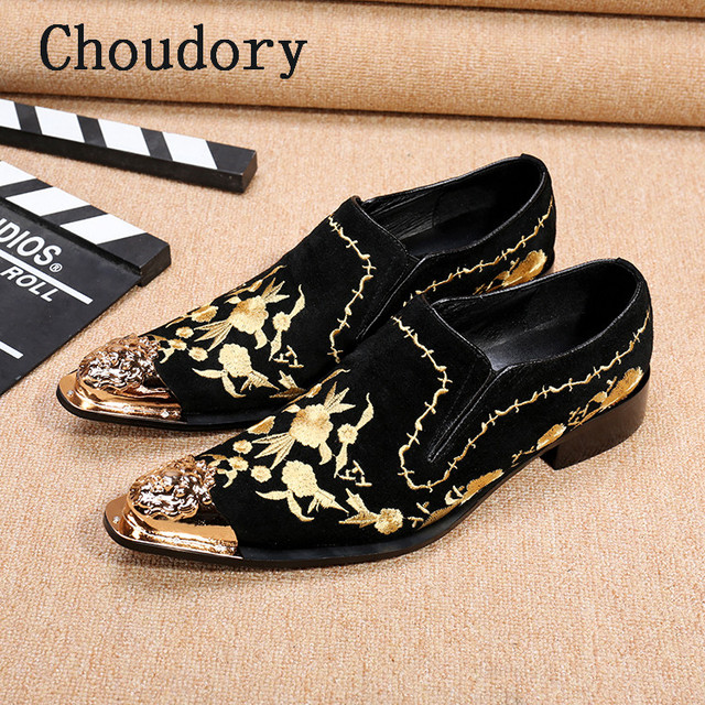 Choudory New Metallic Pointed Toe Men Formal Shoes Ethnic Embroidered Mens  Shoes Genuine Leather Mocassim Masculino 89642d753d56