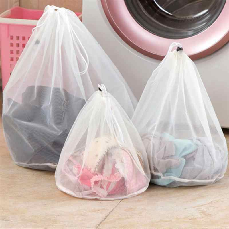 OUNONA Washing Machine Laundry Bags Underwear Mesh Washing Bag with Draw String for Laundry - Size L