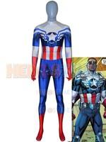 Captain America Costume 3D Printed Captain America Sam Wilson Falcon Suit Halloween Cosplay Zentai Bodysuit