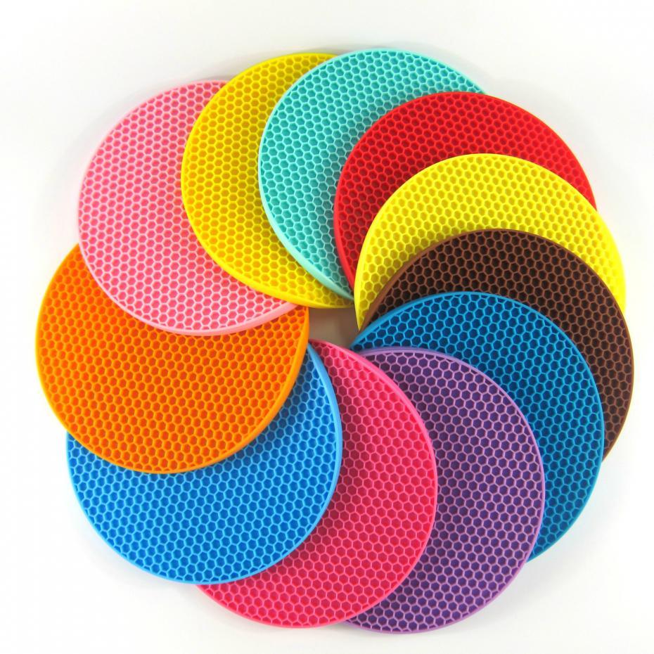 18cm Round Silicone Non-slip Heat Resistant Mat Coaster Cushion Placemat Pot Holder Kitchen Accessories 12