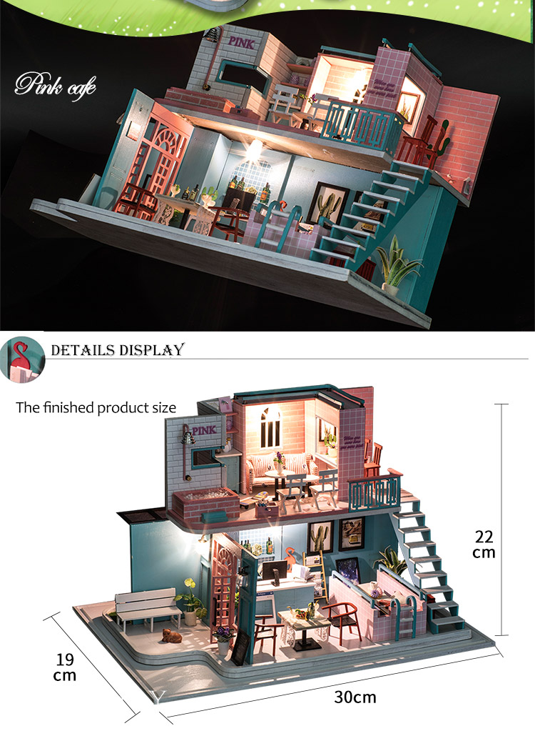 Pink Cafe DIY Miniature 3D Dollhouse Kit
