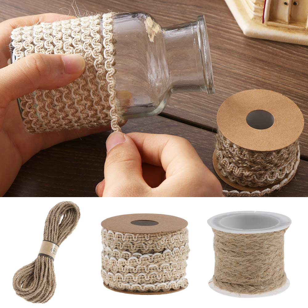 30/50m Natural Burlap Hessian Jute Twine Cord Hemp Rope String Gift Packing Strings Wedding Party Diy Decorative Hemp Rope Attractive Fashion Apparel Sewing & Fabric