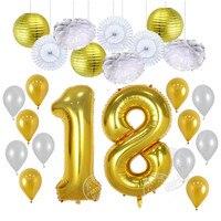 23 adet/grup 30 40 yaşında Doğum Günü Balonlar Parti Dekor Papet Fener Kağıt Poms 3.2g Lateks Balon 40 inch numarası Haneli Globos