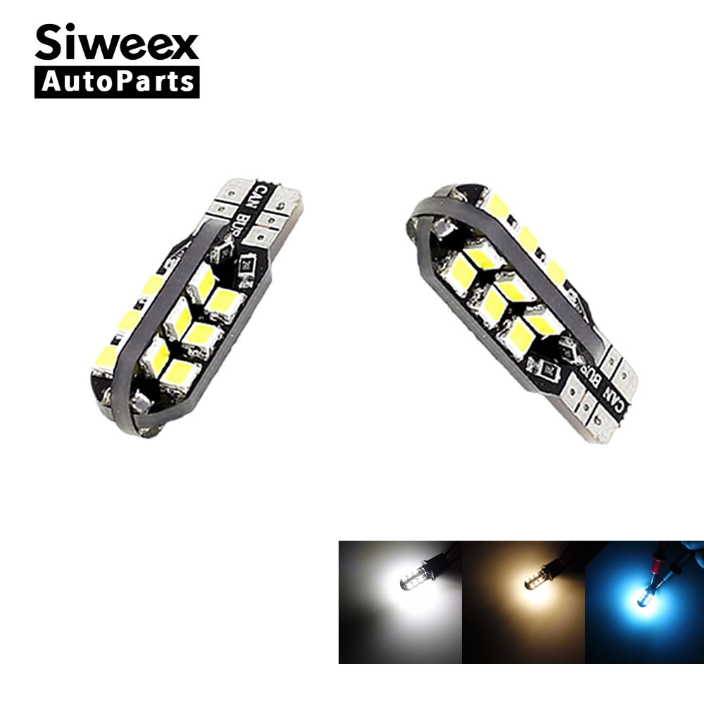2 Pcs W5W T10 Car Led Bulbs 24 SMD Side Wedge Dome Light Reading Turn Signal Lamp 194 168 2835 White Warm White Iceblue 12V