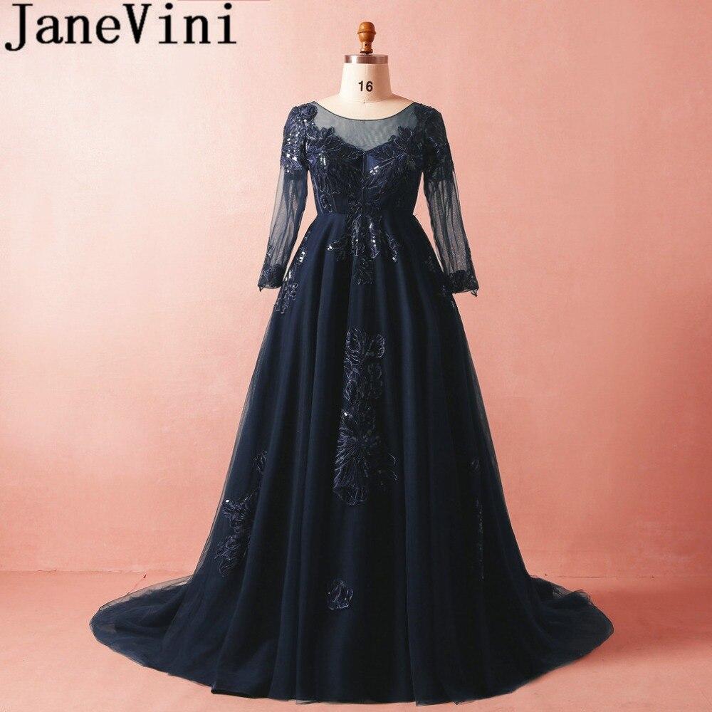 JaneVini 2018 Navy Blue Sequins Long Prom   Dresses   A-Line Lace Appliques   Bridesmaid     Dresses   Sweep Train Plus Size Vestido De Gasa