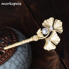 Morkopela Chinese Leaves Hair Pin Vintage Hairpin For Women Bridal Similated Pearls Hairpins Sticks Wedding Hair Accessories(China)