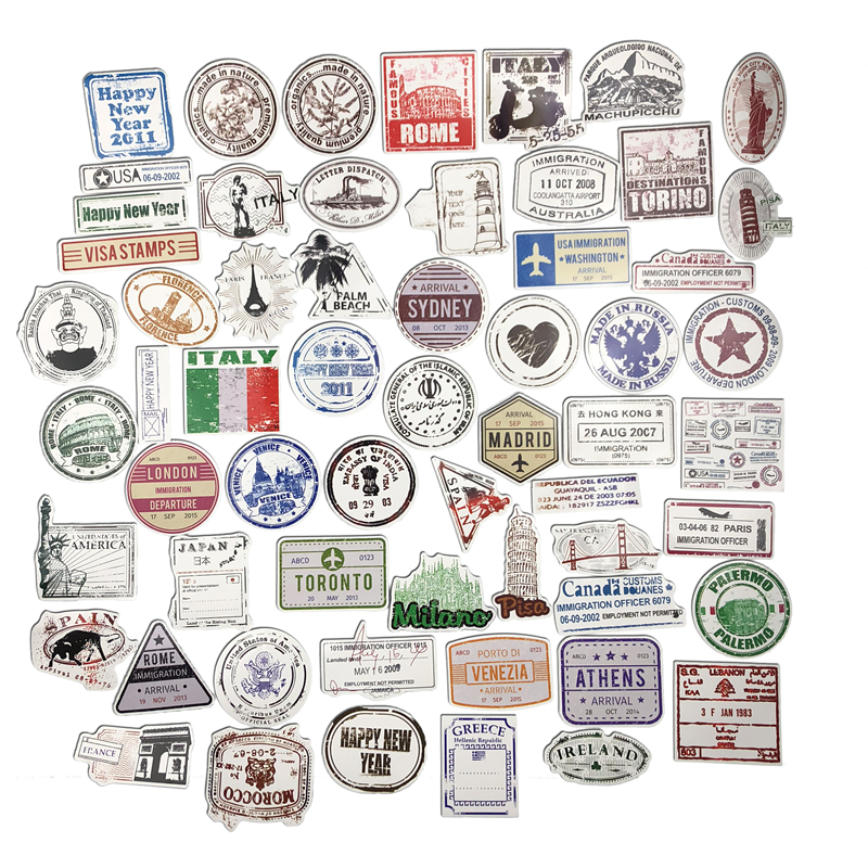 60pcs/lot Retro Traveling Boarding Pass Air Tickets Creative Suitcase Stickers For Laptop Luggage Bags Bike Phone Cool Sticker
