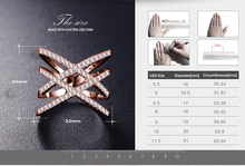 Hot! Bottom Price Only 2 Weeks Fashion Rings for Women Double Letter X Shape Ring Zirconia Micro Paved Women Anel