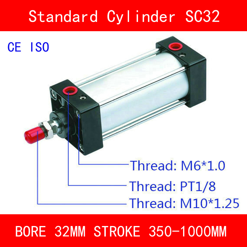 CE SC32 Standard Air Cylinders Valve Magnet Bore 32mm Strock 350mm to 1000mm Stroke Single Rod Double Acting Pneumatic Cylinder sc32 175 sc series standard air cylinders valve 32mm bore 175mm stroke sc32 175 single rod double acting pneumatic cylinder