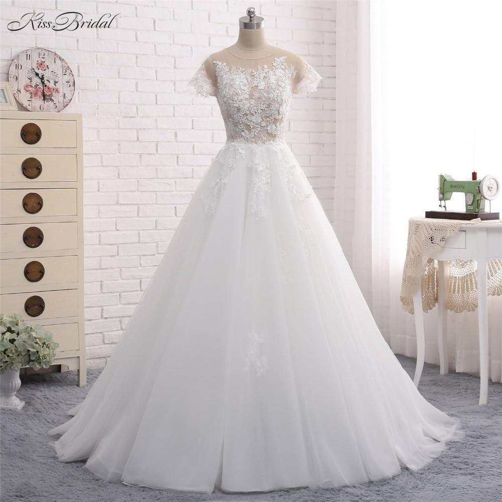 New Design Long Wedding Dress 2018 Scoop Short Sleeves