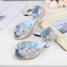 aa539084c Las nuevas Sandalias de tacón alto niños princesa de la moda de verano de  cuero de Elsa zapatos Chaussure Enfants Fille Sandalia.