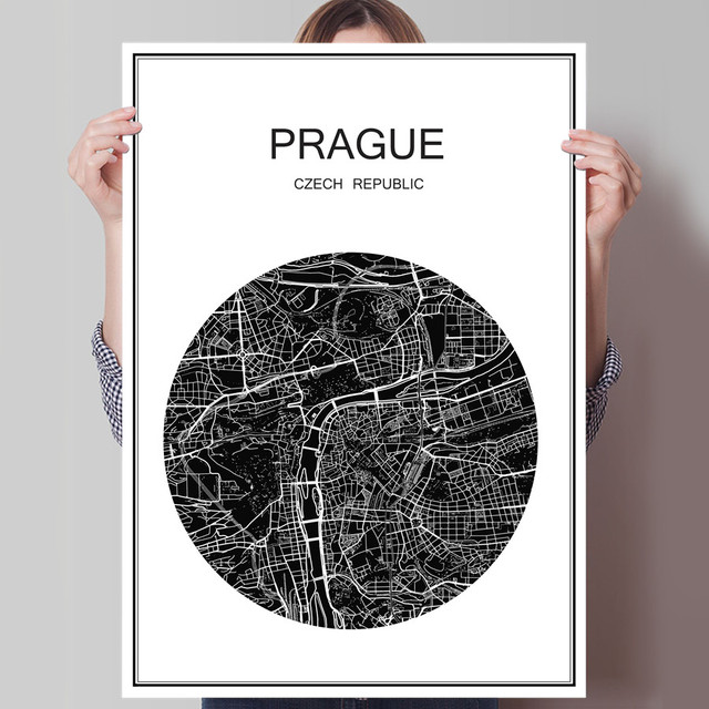 Modern prague world city map oil painting poster canvas coated paper abstract cafe bar decor living