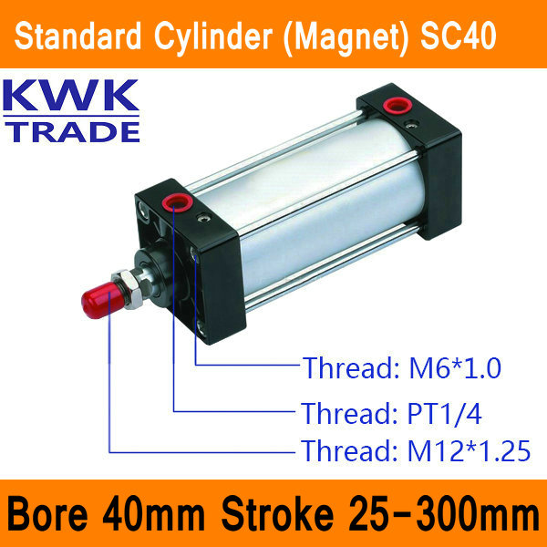 где купить SC40 Standard Air Cylinders Valve Magnet Bore 40mm Strock 25mm to 300mm Stroke Single Rod Double Acting Pneumatic Cylinder по лучшей цене