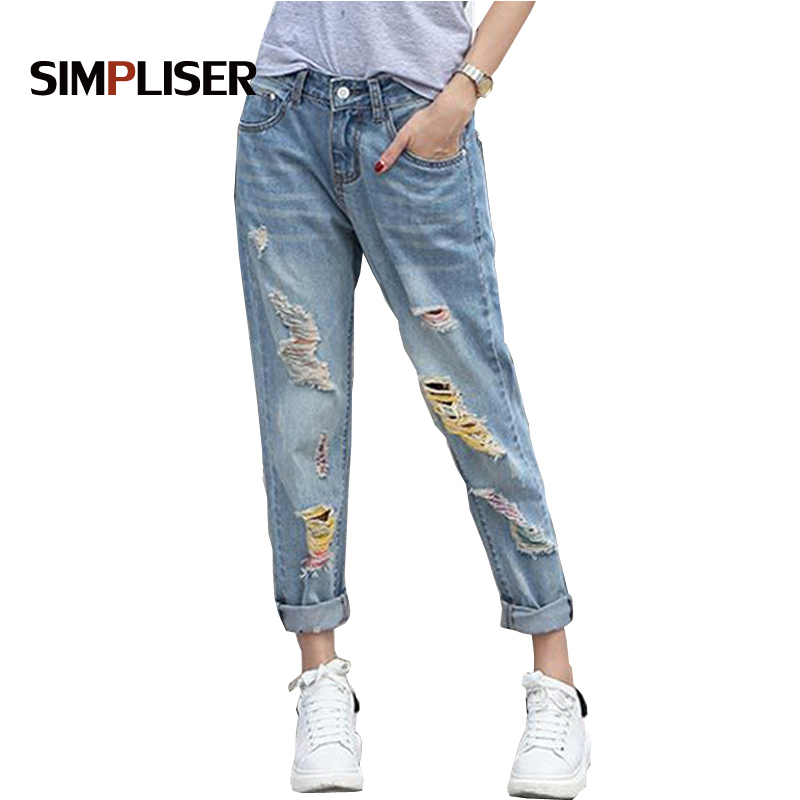 SIMPLISER Loose Boyfriend Ripped   Jeans   For Women 2018 Summer Plus Size Light Blue Hole Trouser Femme Denim Mujer Vintage   Jeans